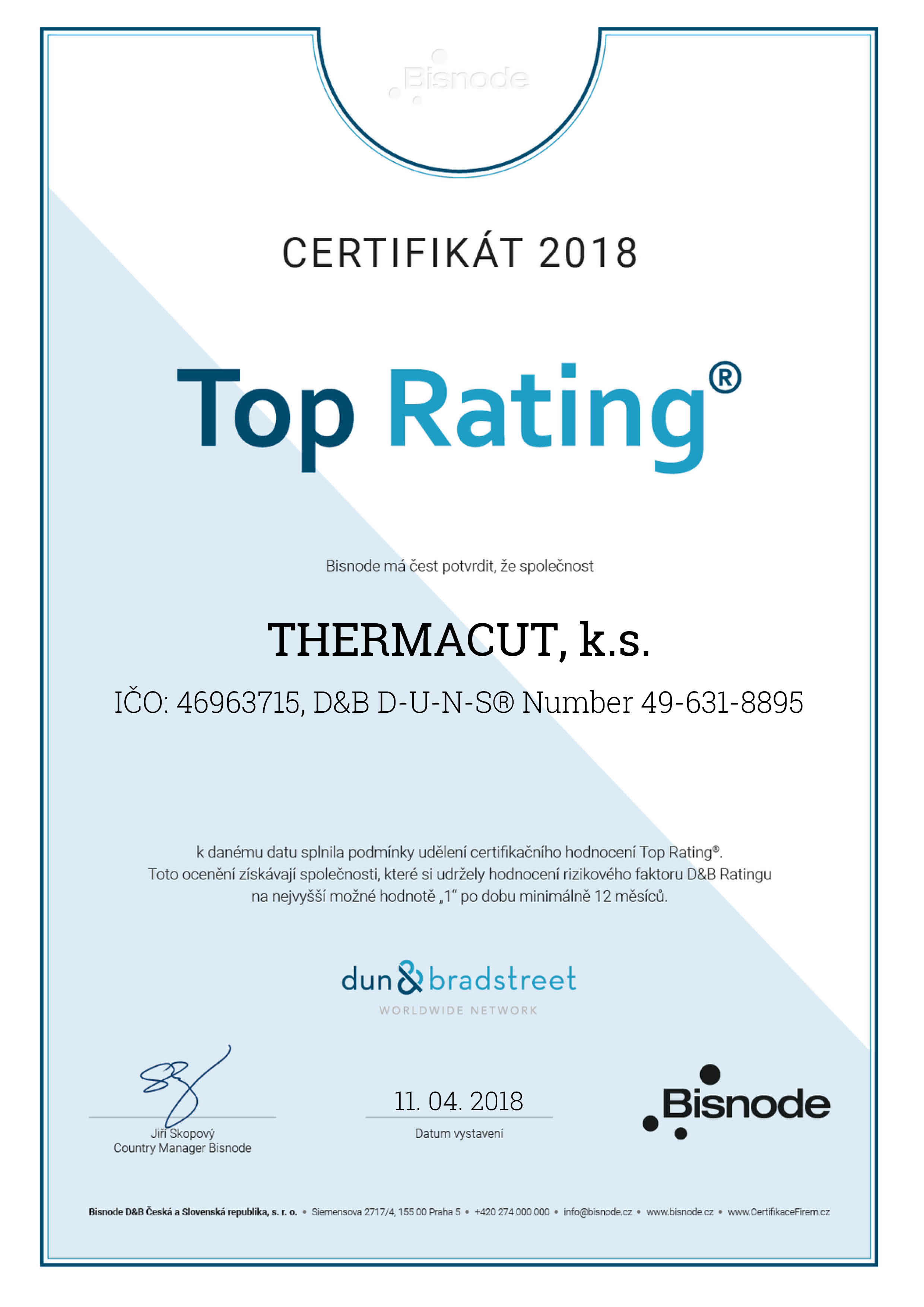 top rating certificate cz 2018
